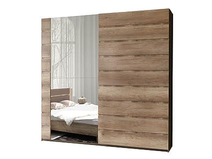 Schwebetürenschrank Miro 11 Modernes Kleiderschrank mit Spiegel, Garderobe,  Schlafzimmerschrank, Schiebetür Schrank, Schlafzimmer-Set (200 cm/Canyon ...