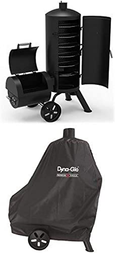 Dyna-Glo Signature Series DGSS1382VCS-D Heavy-Duty Vertical Offset Charcoal Smoker Grill and premium smoker grill cover