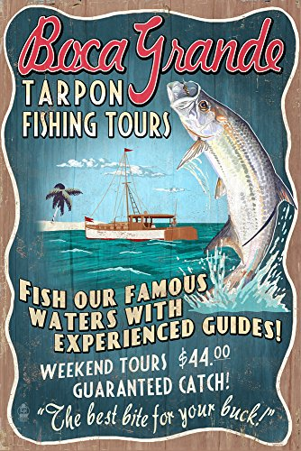 - Tarpon Fishing Tours Vintage Sign (12x18 Signed Print Master Art Print w/Certificate of Authenticity - Wall Decor Travel Poster) ()