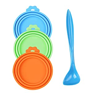 PetBonus 3-Pack Silicone Pet Can Covers, Dog Cat Food Can lids, Fit Multiple Sizes - BPA Free Dishwasher Safe - A Long Handle Special Curved Design Can Food Spoon