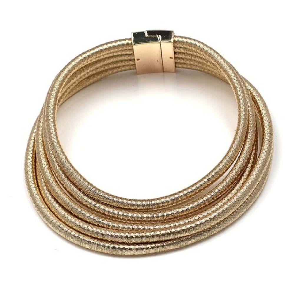 Ooh La La Jewels And Beyond Stylish Celebrity Style Multi Layered Coil Rope Gold Black Choker Necklace (Gold)
