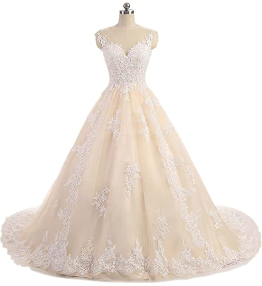 66e6e2afc2d APXPF Women s Lace Tulle Ball Gown Wedding Dress Bridal Gown with Long  Train - Beige -