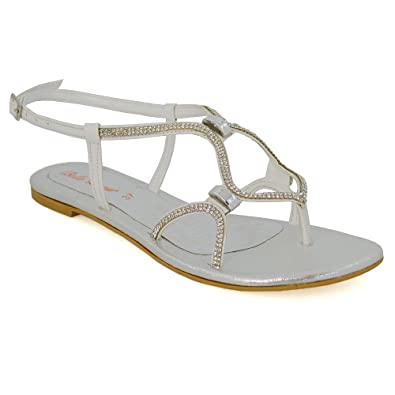 bbc531af55e3 Womens Flat Strappy Sandals Diamante Ladies Cut Out Sparkly Buckle Shoes  Size White