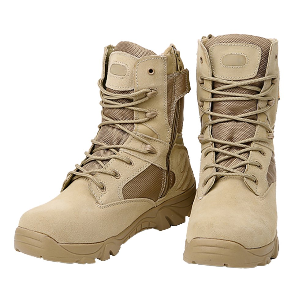 Ifantasy Men's Military Tactical Boots Waterproof Hiking Combat Boots Army Comp Toe Side Zip Work Boots