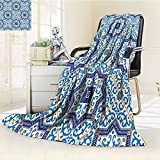 AmaPark Digital Printing Blanket Portuguese Style Classic Tiles Ornaments Islamic Buildings Art Blue White Summer Quilt Comforter