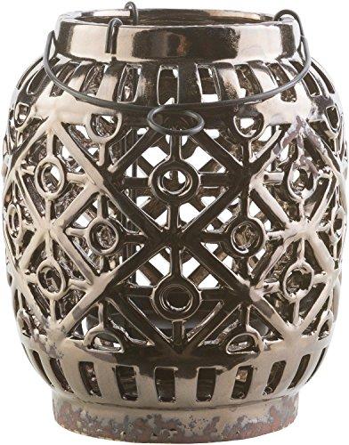 Diva At Home Metallic Brown Geometric Patterned Outdoor Patio Lantern 6.9