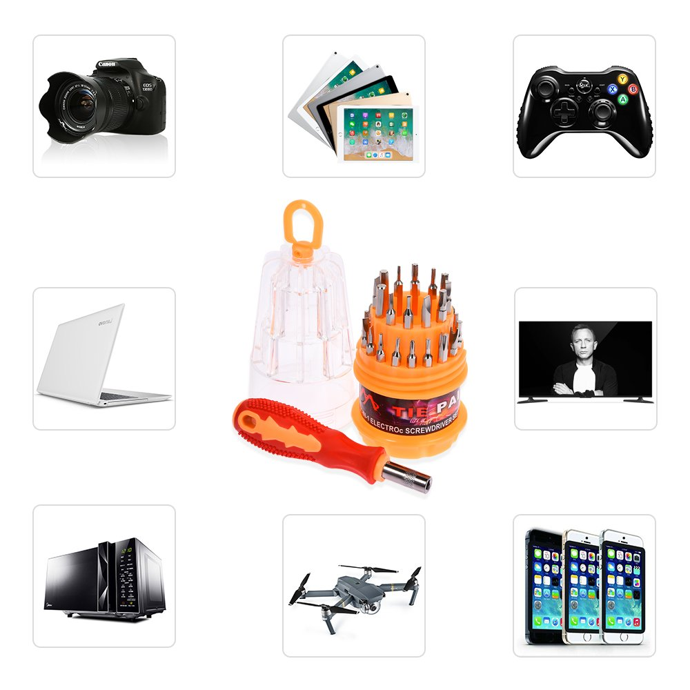 Portable Screwdriver Set,Fulljion 31 in 1 Professional Magnetic Screwdriver Bit Precision Screwdriver Repair Tools For Cell Phone, Tablet, PC, Macbook, Electronics Repair Tool Kit - 31 Pieces