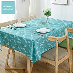 Eforcurtain Extra Large 60 x 120 Inch Fashion Geometric Fabric Table Cloth Oblong with White Quatrefoil, Durable Oil Proof Table Cover Waterproof Stain Resistant, Turquoise