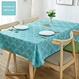Eforcurtain Home Decorative White Geometric Floral Tablecloth Water Resistant Spill Proof, Turquoise Rectangle Polyester Table Cover Stain Resistant 60 by 102 Inch X Long
