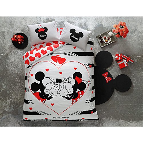 (Disney Minnie & Mickey Valentine's Day AMOUR SO IN LOVE, Duvet Cover Set, 100% Cotton, Double/Queen Size, 4 Pieces)