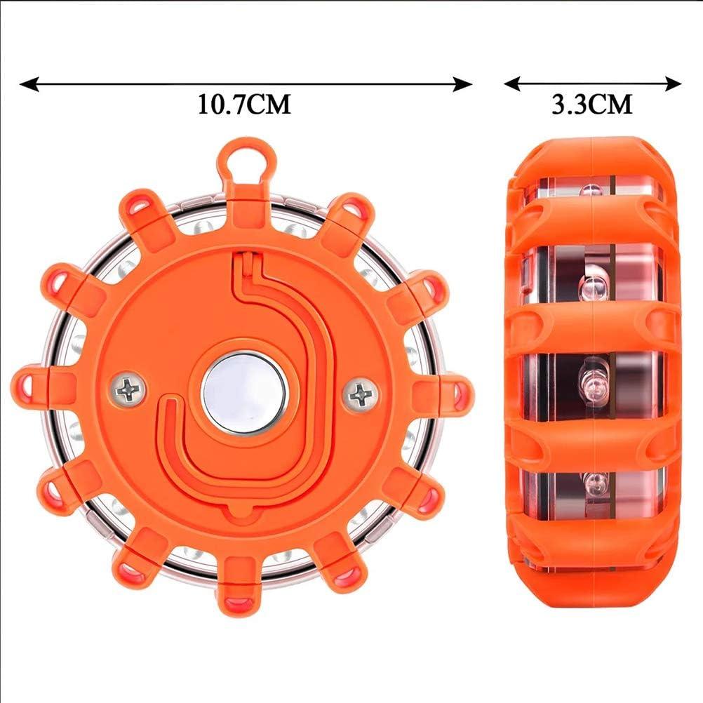 LED Akuu Signallicht Wasserdicht Road Warnleuchten Kabellos Rotierende Sicherheitsleuchten Roadside Blinkendes Warnlicht Notlicht Auto Zubeh/ör ohne Batterie