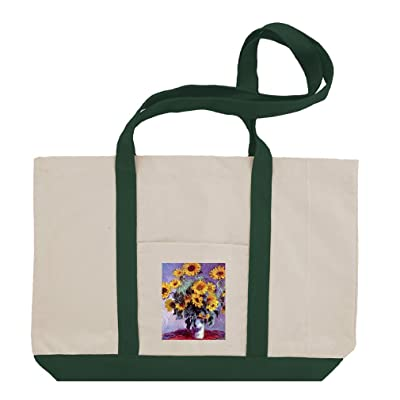 chic Still Life With Sunflowers (Monet) Cotton Canvas Boat Tote Bag Tote