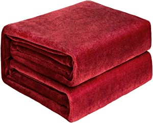 NEWSHONE Flannel Fleece Luxury Blanket - Lightweight Cozy Plush Throw Blanket Twin Size (60inX80in) Red