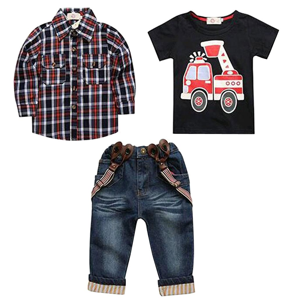 Arrowhunt Baby Boys Long Sleeve Plaid Shirt Car Printing T-Shirt Long Jeans 3pcs Clothes Set EU-JF0671