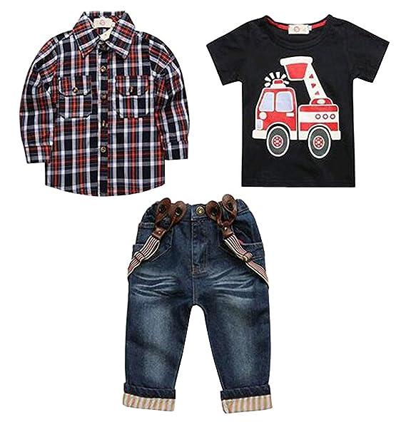 2dc24d282d331 Arrowhunt Baby Boys Long Sleeve Plaid Shirt Car Printing T-Shirt Long Jeans  3pcs Clothes Set: Amazon.co.uk: Clothing