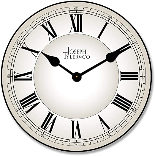 Classic White Wall Clock, Available in 8 Sizes, Most Sizes Ship 2-3 Days, Whisper Quiet.