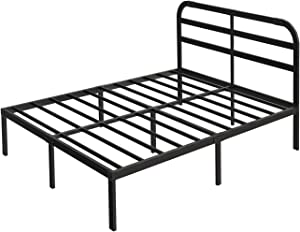 14 Inch Metal Platform Bed Frame with Headboard/Easy Assembly Mattress Foundation/Heavy Duty Steel Slat/Anti-Slip/Noise Free/Box Spring Replacement, Queen