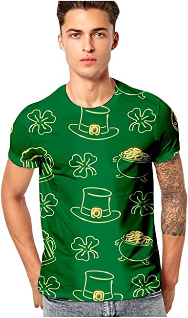 FORUU Mens St Patricks Day Shirts 2020,Green Print O-Neck Short Sleeve T Shirt Plus Size Cute Graphic Tees Tops Blouse
