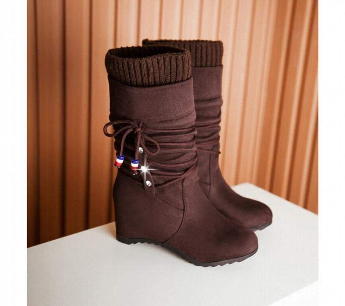 ZHRUI Damenschuhe - Flache untere Höhe Weibliche Hohe Stiefel Matte Damenstiefel Mittlere Stiefel Elastische Stiefel 35-43 (Farbe   Braun Größe   42)