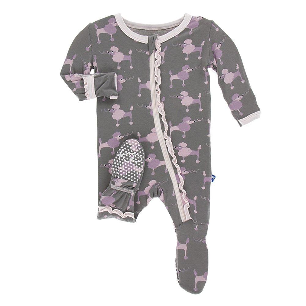 0d8eb7603542 Amazon.com: Kickee Pants Baby Girls' Bamboo Ruffle Footie with Zipper:  Clothing