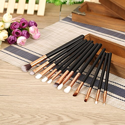 12 Pcs Great Popular Makeup Brush Set Foundation Powder Eyeshadow Eyeliner Lip Tools Cosmetics Women Tool Kit Brushes Eyebrow Lips Palette Containers Premium Natural Eyes Lipstick Shadow Colors Black -