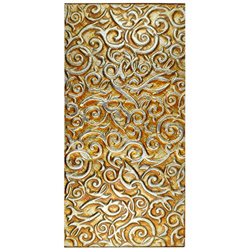 Champagne Gold Tile Flooring (SomerTile GFNEFPCH Palazzo Embossed Panorama Glass Wall Tile, 11.75