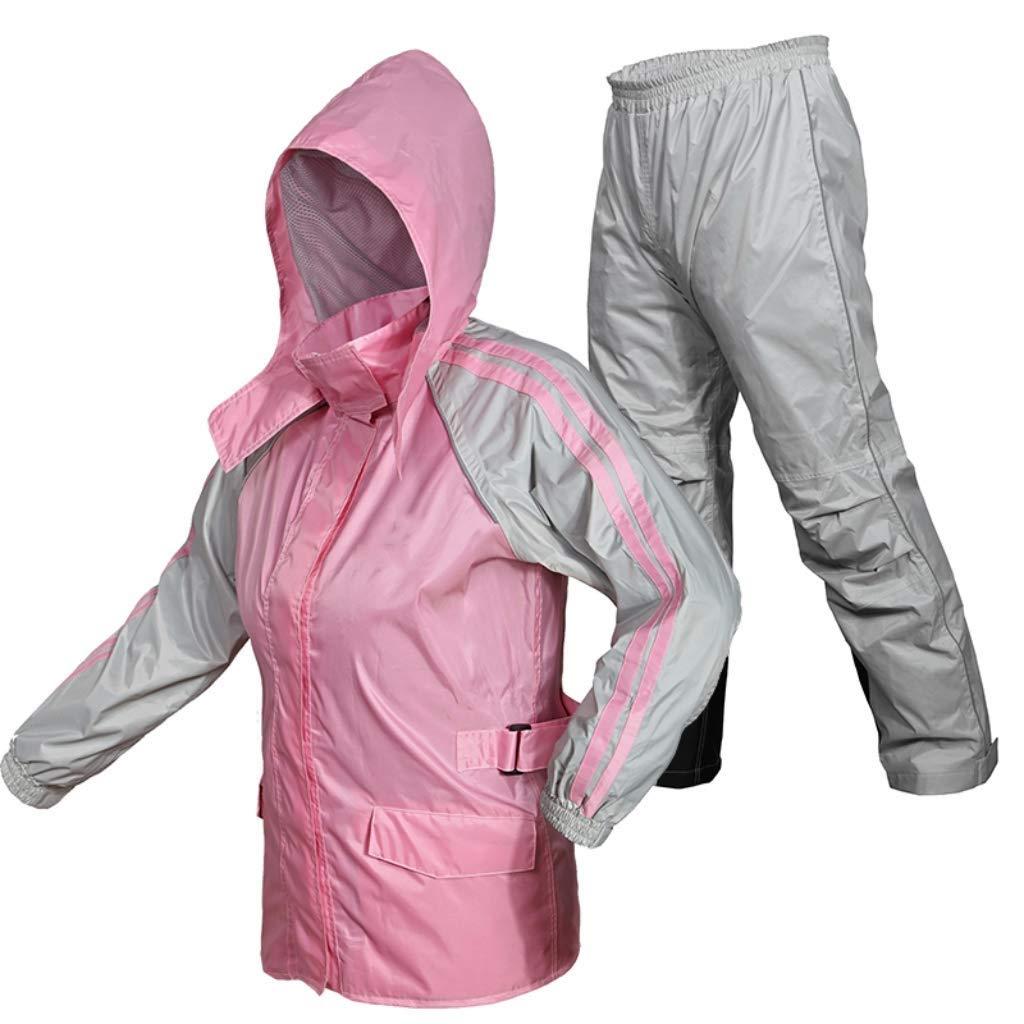 rose X-grand DJSMYY Léger imperméable imperméable de Veste de Veste des Hommes approprié au Pantalon imperméable extérieur imperméable de Capuchon de Pluie de Capuchon de Pluie (Couleur   rose, Taille   3XL)