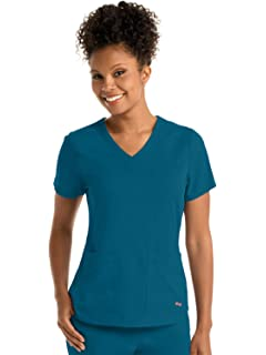 289269e7d41 Grey's Anatomy Spandex-Stretch Emma Top for Women - Easy Care Medical Scrub  Top