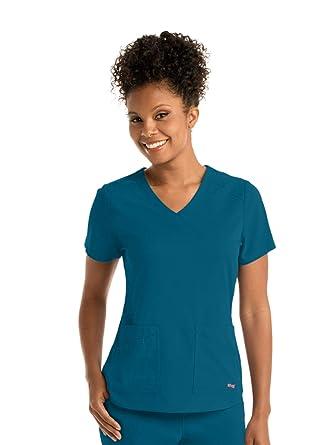 f5090e992b6 Amazon.com: Grey's Anatomy Spandex-Stretch Emma Top for Women - Easy ...