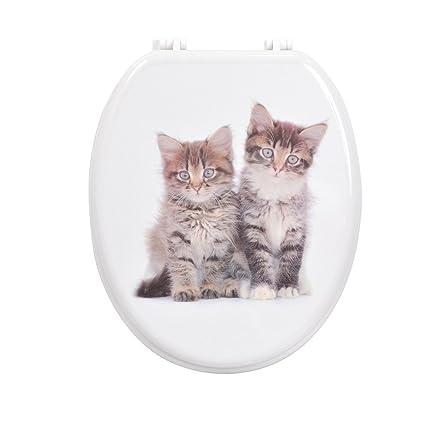 Carpemodo – Tapa de WC Tapa de madera con bisagras de plástico Gatos ...
