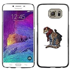 Samsung Galaxy S6 - Metal de aluminio y de plástico duro Caja del teléfono - Negro - Cheetah Warrior - Cool Cat Cute Funny Animal