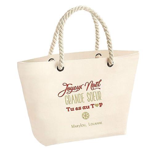 Cadeau soeur   Grand sac personnalisé en broderie avec prénom