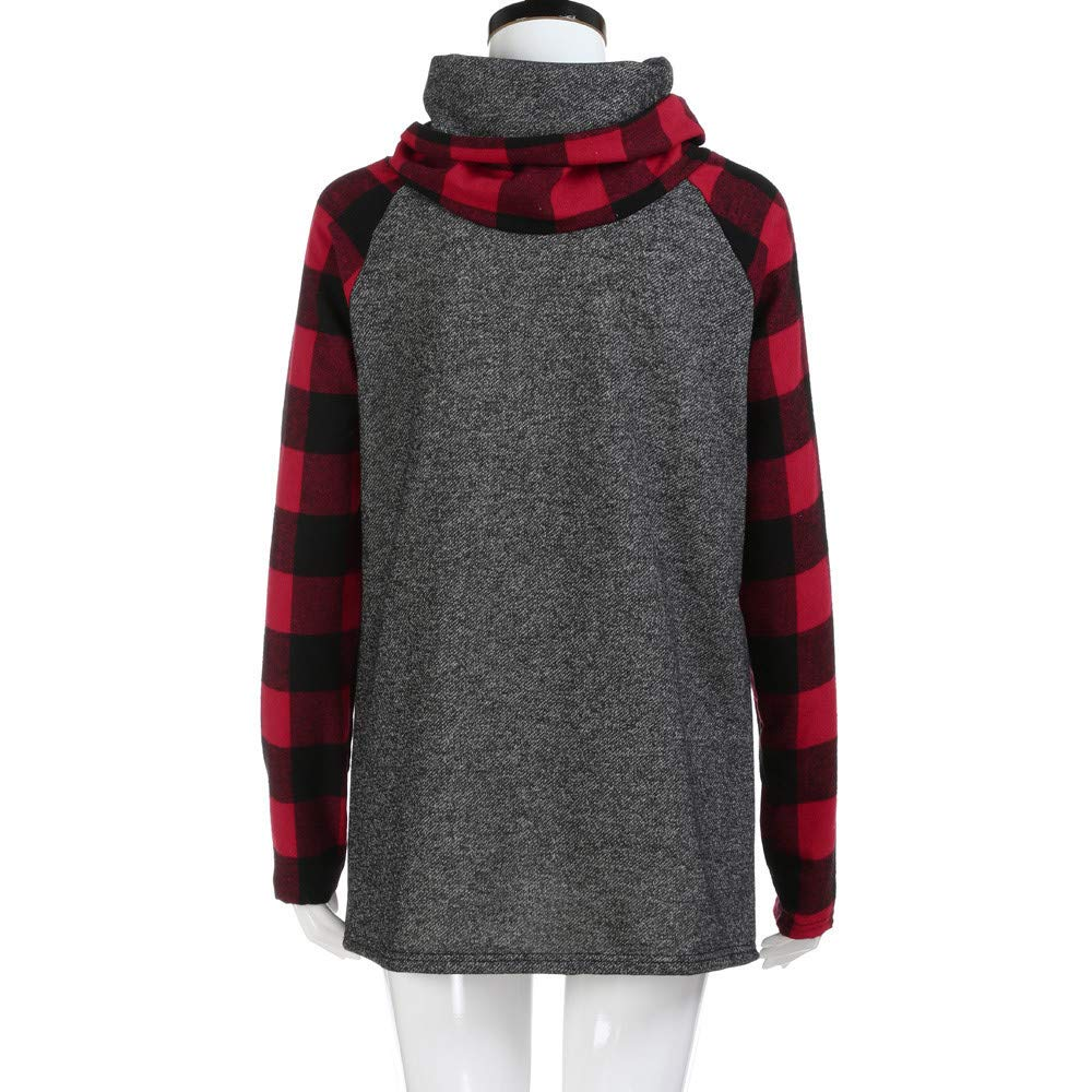 Women\'s Cowl Neck Sweatshirts Plaid Long Sleeve Casual Raglan Shirt Pullover