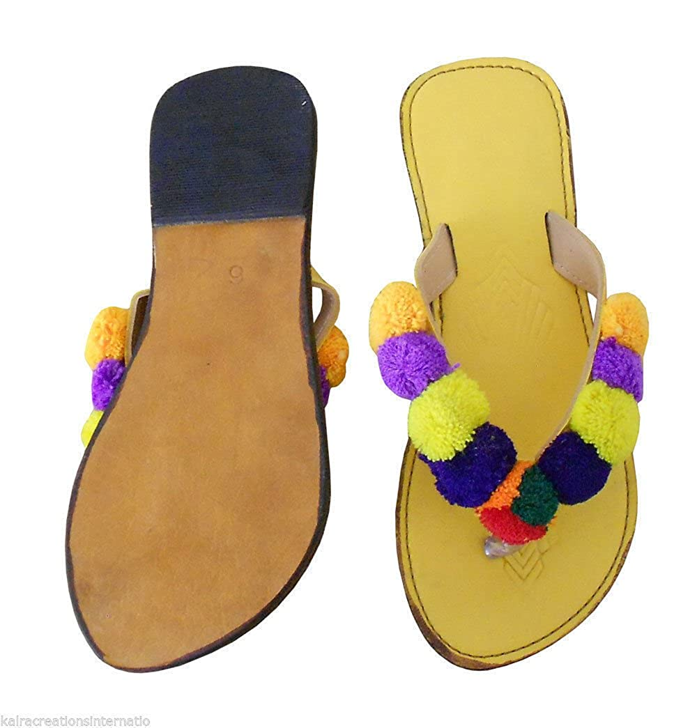 KALRA Frauen Creations Traditionelle Leder der Frauen KALRA indischen Casual Flip Flops fc0db9