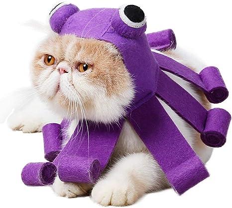 Idepet Disfraz de gato mascota Sombrero de pulpo morado Vístete ...