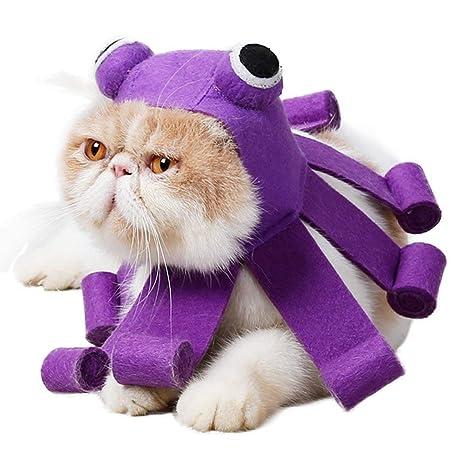 Idepet - Disfraz de Gato para Mascota, diseño de Pulpo púrpura, para Halloween,
