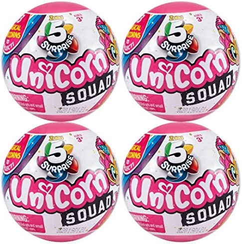 5 SURPRISE Unicorn Squad Mystery Collectible Capsule - 4 Pack