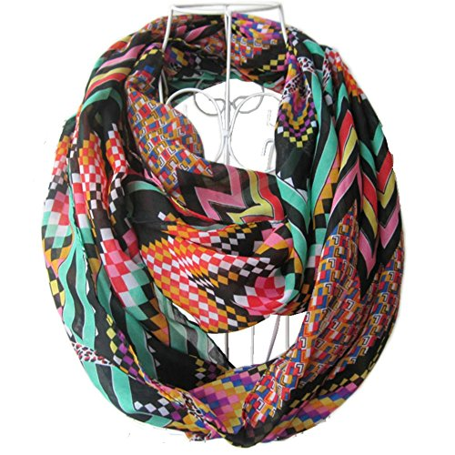 GYBest Hot Sale Multicolor Chiffon Soft Charming Sheer Infinity Scarf (Digitized/Black01)