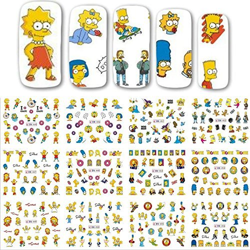(12 sets the Simpson's cartoon NAIL DECALS Bart Simpson homer Simpson Maggie Simpson water transfer Marge Simpson nail stickers natural manicure acrylic nail accessories nail vinyls French tip)