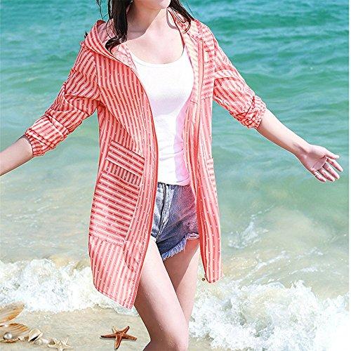 QFFL fangshaifu ロングセクシーストライプ日保護服/女性スリム薄いクリエイティブカーディガン/スキンに優しい通気性のある抗UVショール(利用可能な4色) (色 : D, サイズ さいず : XXL)