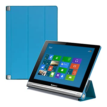 kwmobile Case for Lenovo Yoga Tablet 10 HD+ - PU Leather Smart Cover Protective Tablet Case with Stand - Light Blue