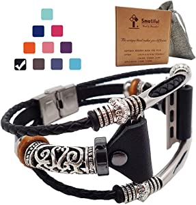 Smatiful Fancy Bands (Small Mediume Large xl are Ok) with Stainless Steel Clasp and Gunmetal Parts for Women, Adjustable Replacement Leather Band for Apple Watch 38mm (Series 1,2,3,4,5,6),Classic Black