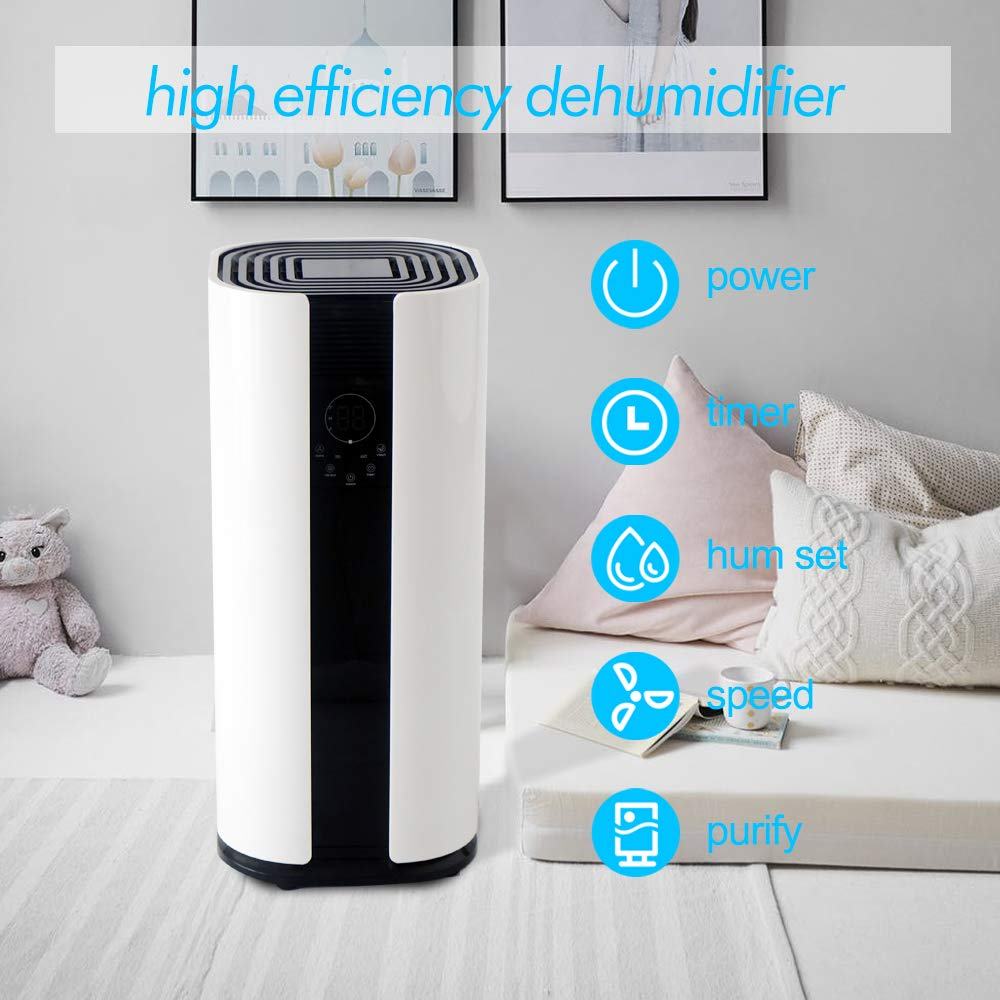 OULUN Eurgeen Portable Touch-Screen 6 Gallons 50 Pints Home Piston Dehumidifier Dryer Whisper Quiet for Home largerooms Basement with Fan Wheels and Drain Hose Moisture Remover Dehumidifier
