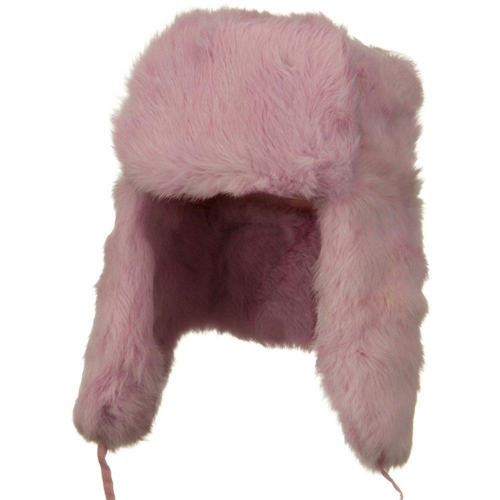 Rabbit Fur Trooper Hat - Pink L