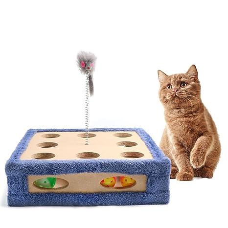 Juguete rascador para gatos, cajas de maquillaje para gatos, almohadilla interactiva para entrenamiento, ratón, ...