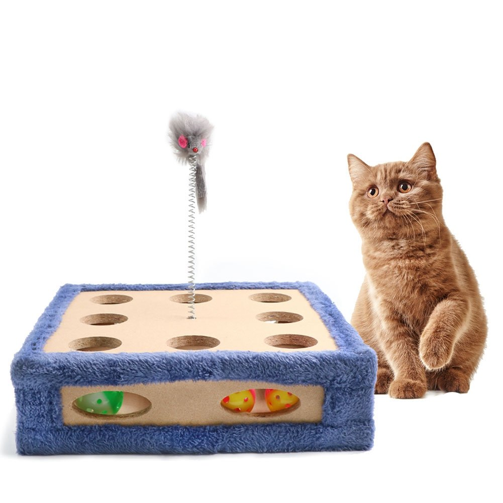 bluee Cat Scratcher Toy, Cat Maze Boxes, Post Pad Interactive Training Exercise Mouse Play Toy with Bell Sounds Ball, Four Cat Toys Included, 3 Balls and a Mouse, Great Gift for Any Cat, bluee