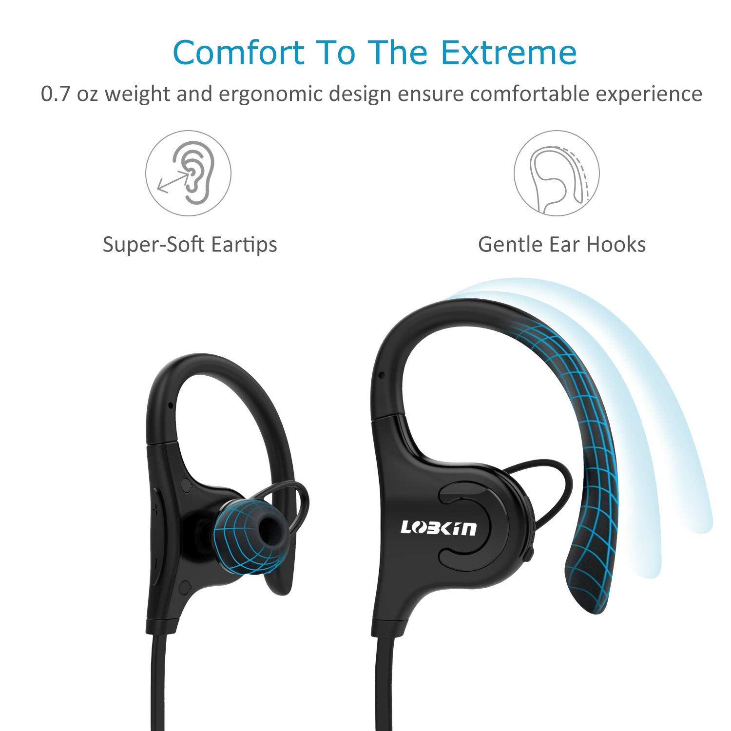 Bluetooth Headphones, LOBKIN S2 Waterproof IPX5 Wireless Earbuds Sport, HD Stereo in-Ear Earphones w/Mic, Noise Cancelling Headsets (Black)