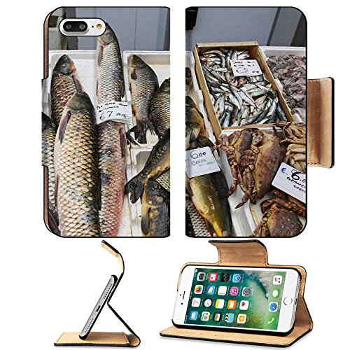 Luxlady Premium Apple iPhone 7 Plus Flip Pu Leather Wallet Case iPhone7 Plus 34207525 Fish and seafood market stall in Italy (Best Seafood In Italy)