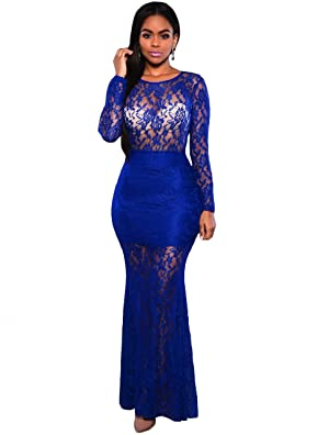 Women Round Neck Long Sleeve Backless Floral Lace Cocktail Bodycon Maxi Dress Blue M