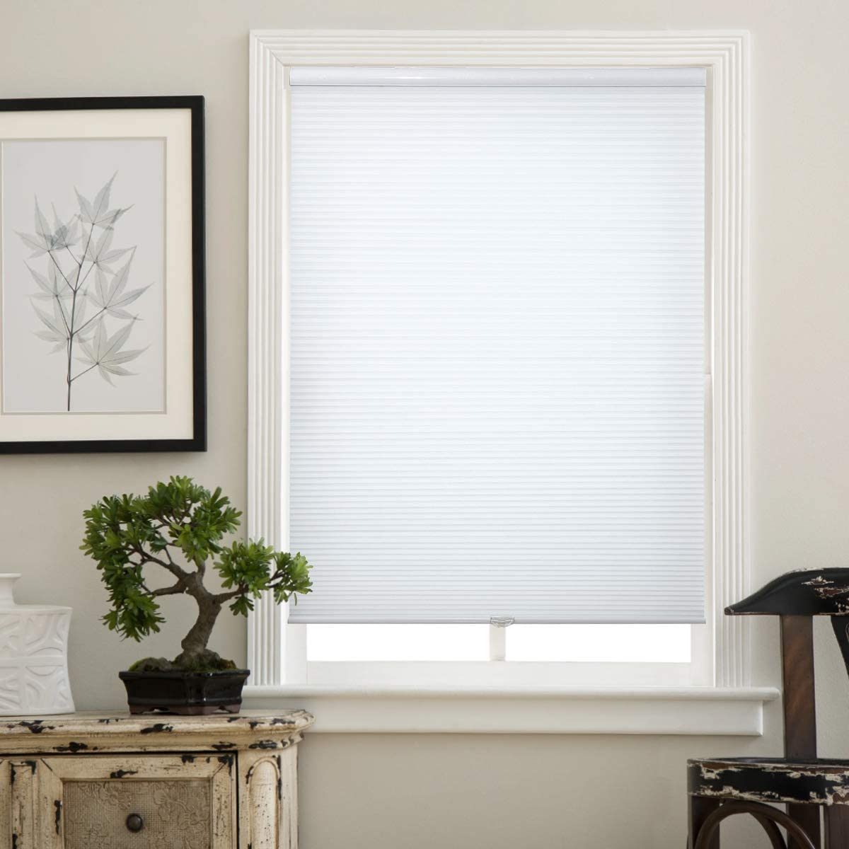 Matinss Cellular Shades Cordless Window Blinds Honeycomb Shades for Home and Windows Bedroom, Light Filtering, White, 24x36